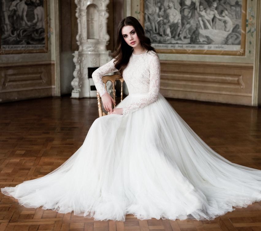 2015 Weinlese-lange Hochzeits-Kleider mit langen Ärmeln Brautkleid ...