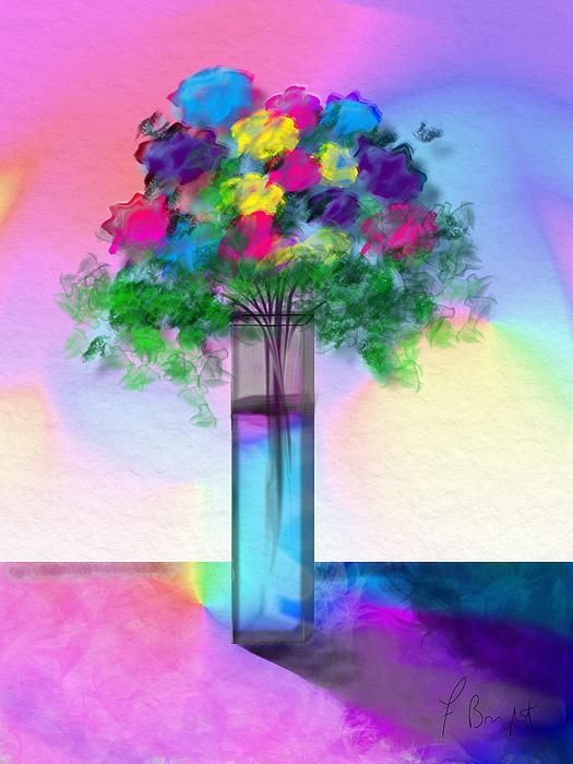 Flowers In A Glass Vase by Frank Bright