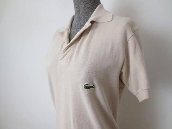 34d17d9af40f Vintage  70s Chemise Lacoste 100% Cotton Beige Long Tail Polo