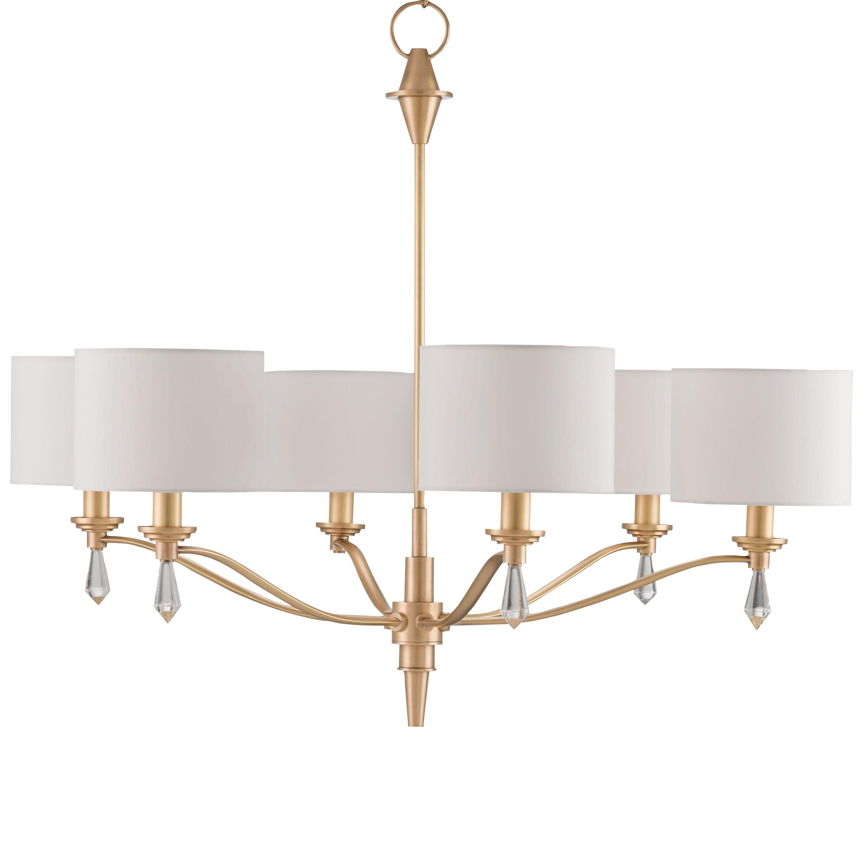 Kim Modern Classic Brushed Gold Crystal Finial 6 Light Chandelier In 2020 Chandelier Design Chandelier Lighting Chandelier