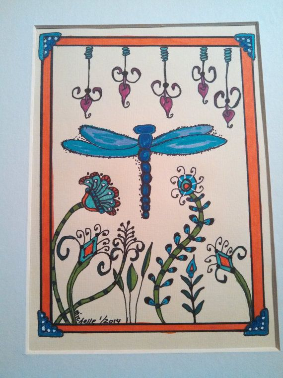 Dragonfly blue with whimsical flowers and by FancyTweets on