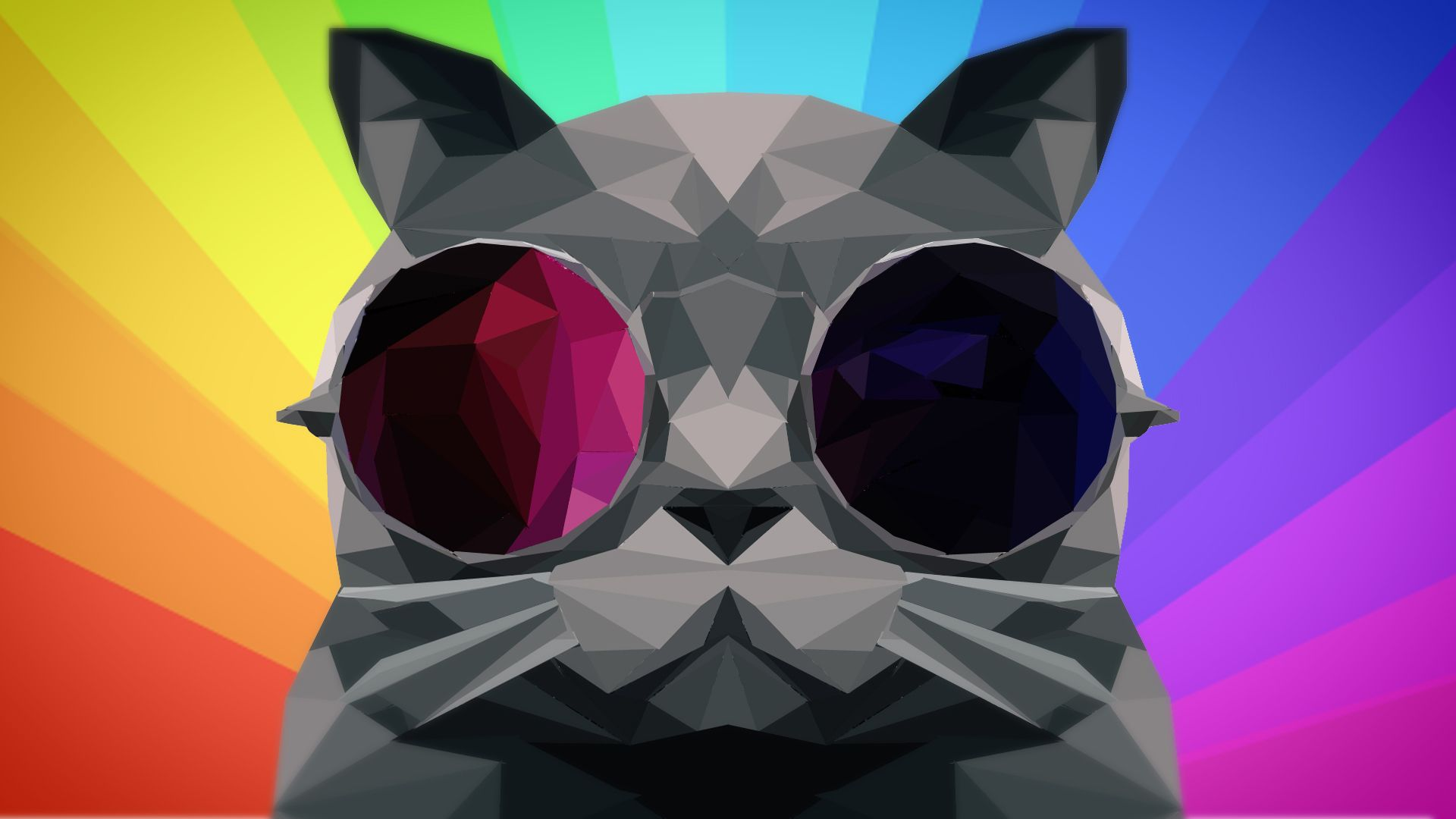 Rainbow Poly Cat [1920x1080] 4k wallpaper for mobile, R