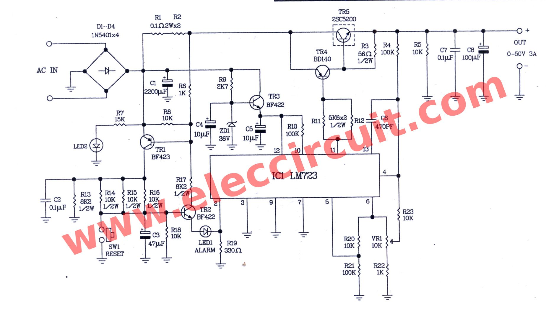 Variable Power Supply Circuit 0 50v At 3a With Pcb Eleccircuit Com Power Supply Circuit Circuit Diagram Power Supply
