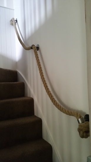 Natural Hemp Rope Handrail with Brackets and Manrope Knots ...