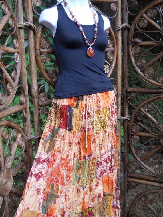 Peach and orange patchwork tiered skirt  LXL by LamplightGifts, $17.00