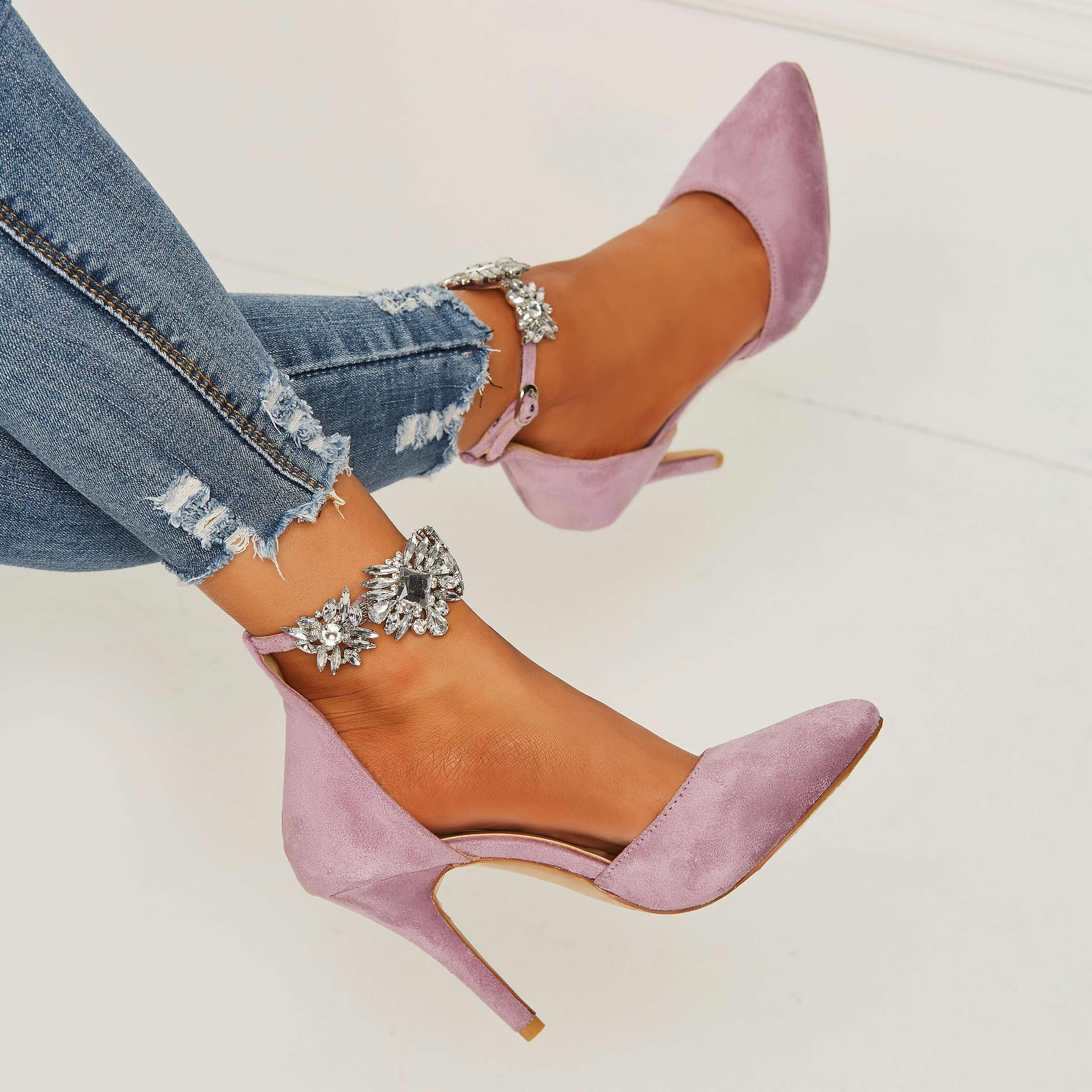 b87546708a Purple Pointed Toe Rhinestone Line-Style Buckle Stiletto Heels # StilettoHeels
