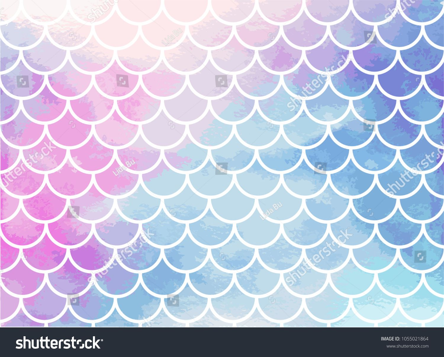 Pinkblue mermaid scales. Watercolor fish scales