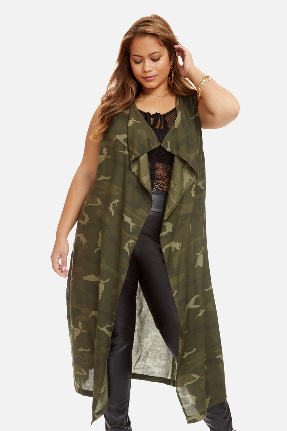 4ba2311c0393c Plus Size Monica Camo Vest Duster   Fashionista Mom   Fashion, Plus ...