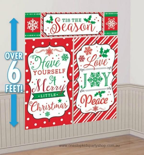 Christmas In July Party Supplies.6ft Huge Tis This Season Scene Setter Xmas Decorations