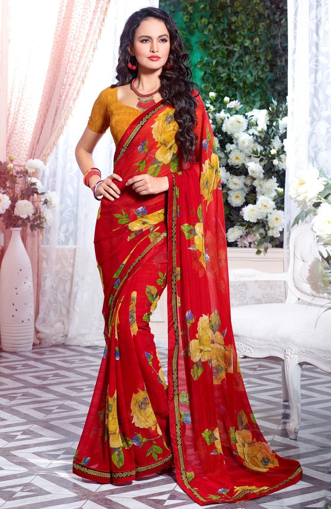 fc1d274746 Sarees-vessido-Craftsvilla   Sarees and lengha   Saree, Georgette ...