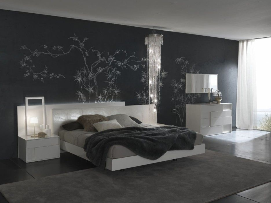 contemporary room ideas bedroom set with gray bedding modern bedroom decorating ideas complete pillows and dark wall color using mirror that have white wood - Black And White Master Bedroom Decorating Ideas
