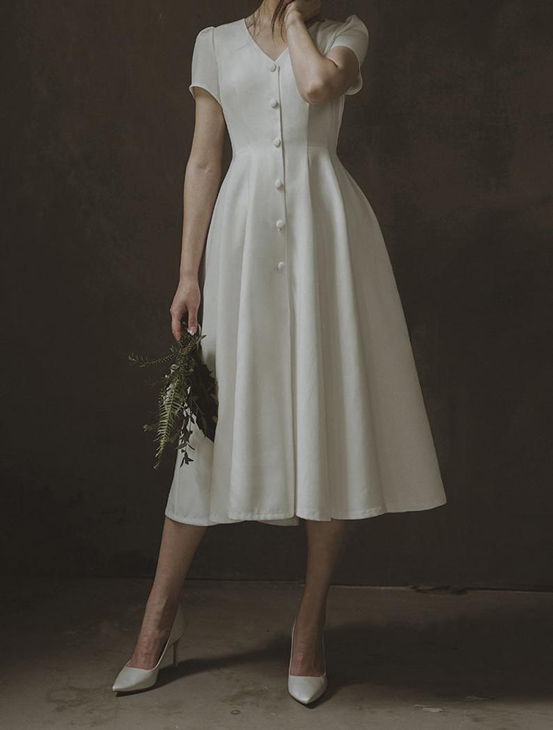 Alice Simple And Elegant French Style Midi Wedding Dress Etsy Midi Wedding Dress Modest Vintage Dresses Modest Dresses [ 1049 x 794 Pixel ]