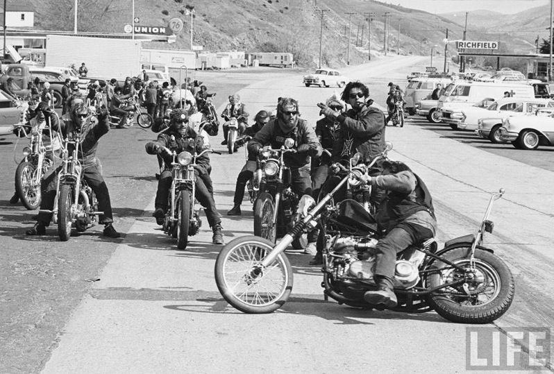 Hells Angels Motorcycle Gang Bakersfield Large Borders Glossy 8x10 Photo