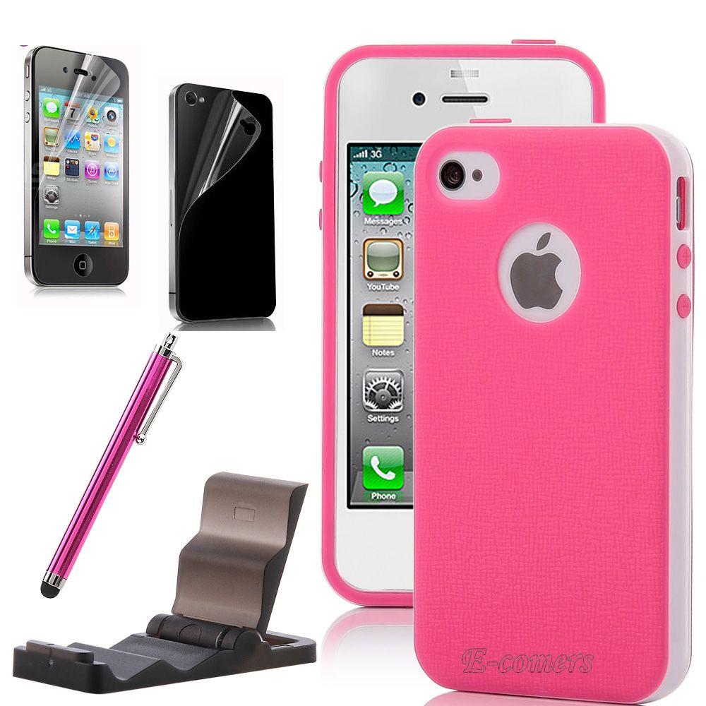 cute iphone 4s cases for iphone 4 4s pink white 2 hybrid tpu 1782