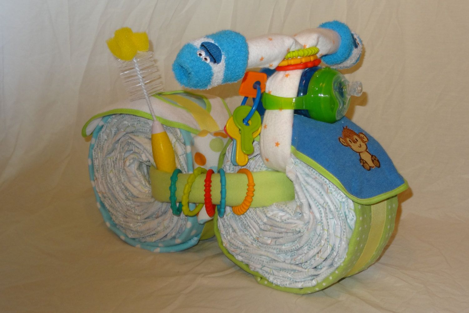 """Diaper Motorcycle """"Roadster"""" Custom Made to Order Unique Diaper Cake for Boy Girl Gender Neutral Baby Shower Centerpiece Delivery Available - pinned by pin4etsy.com"""