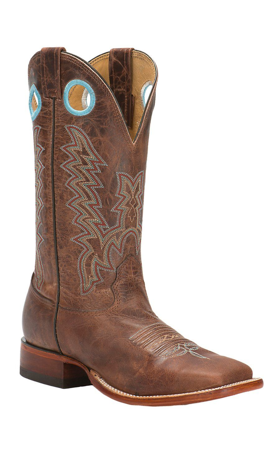 Men S Mesquite Brown Double Welt Square Toe Western Boots