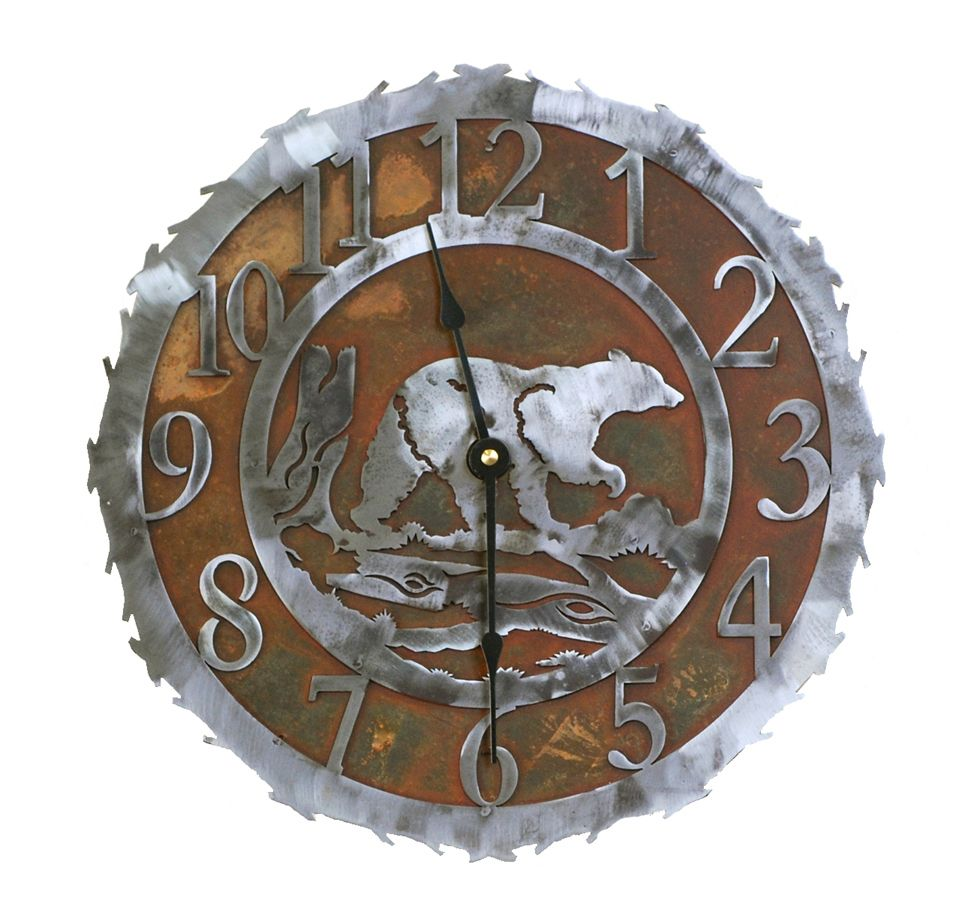Bear Metal Art Clock 12 Inch Metal Tree Wall Art