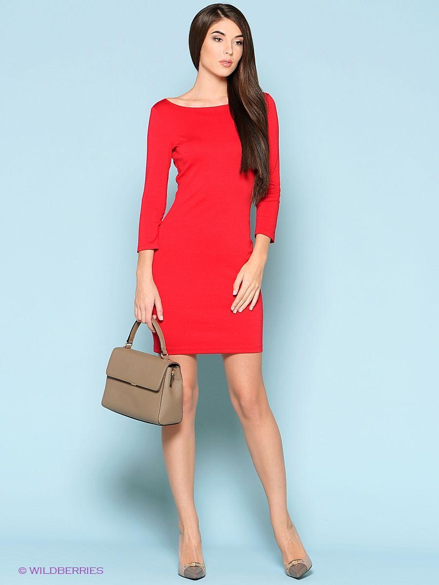 платье красное трикотажное фото