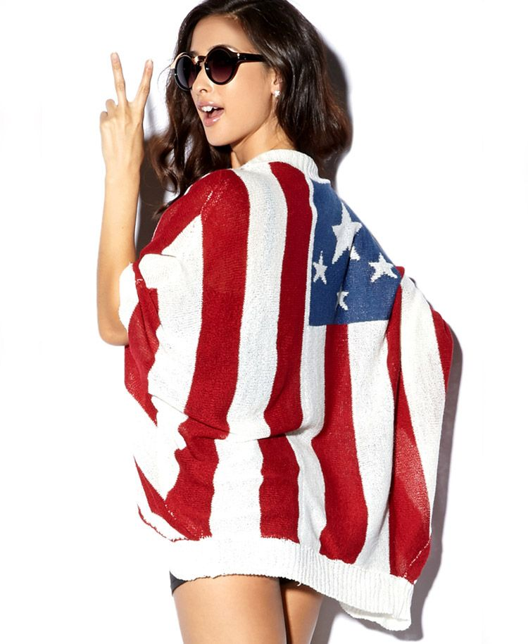 88c32eac062f2 Open-Front American Flag Cardigan