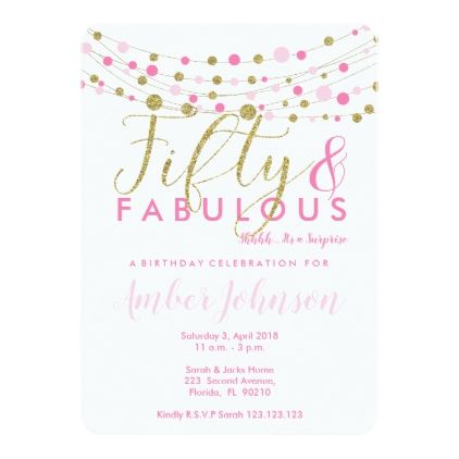 50th birthday party invitation pink and gold card
