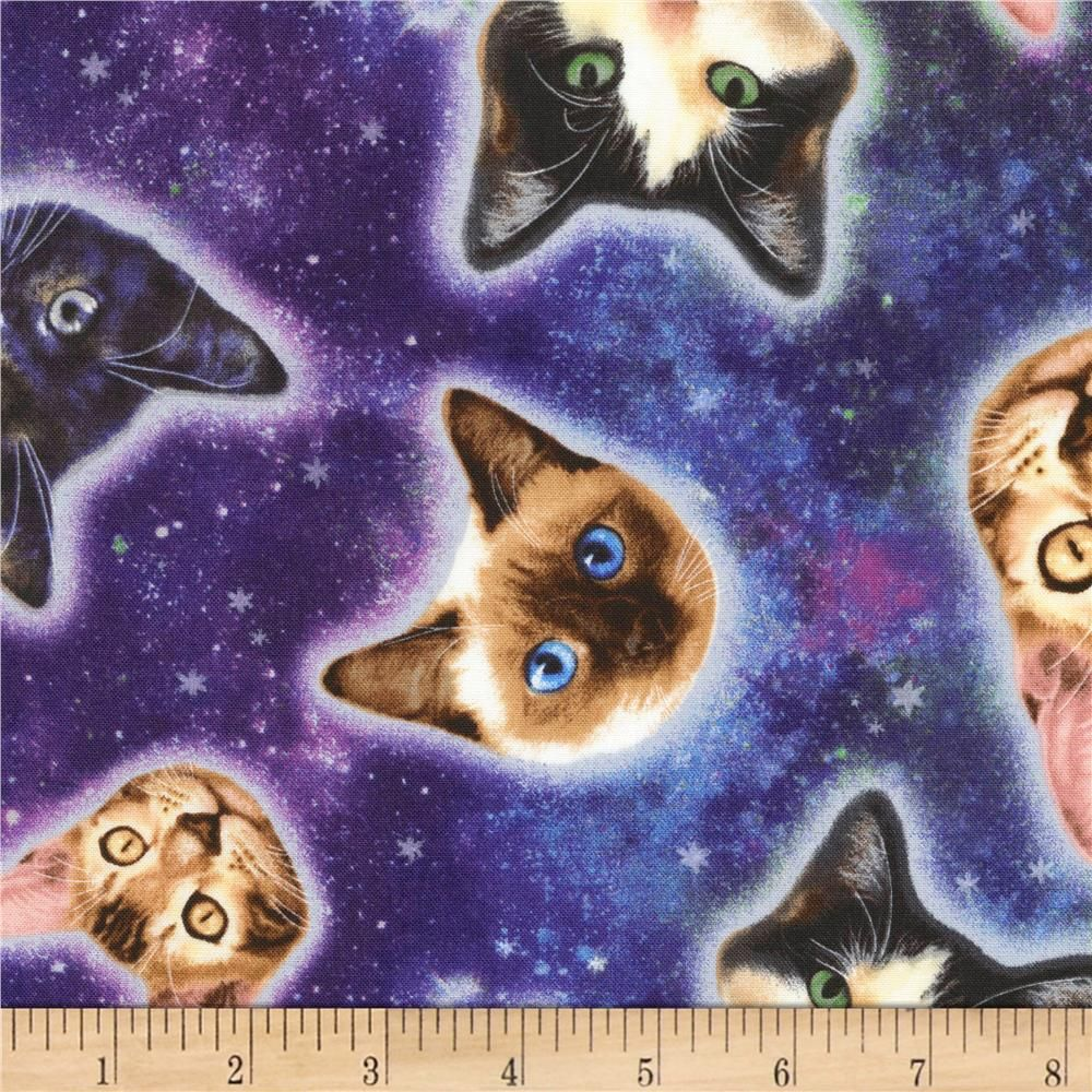 28b89a04b33 Timeless Treasures Jersey Knit Cat Heads In Space Galaxy from @fabricdotcom  From Timeless Treasures this light weight jersey knit fabric features a  smooth ...
