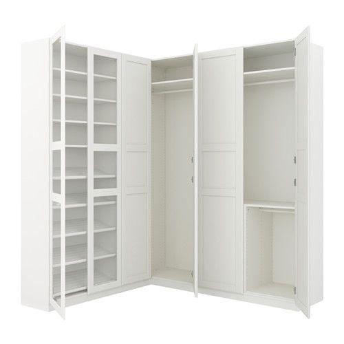 PAX Corner wardrobe, white Tyssedal, Tyssedal glass | Corner ...