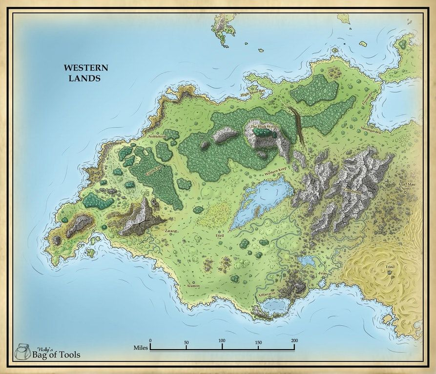 The Western Lands  By FISTY'S BAG OF TOOLS : dndmaps | Imaginary