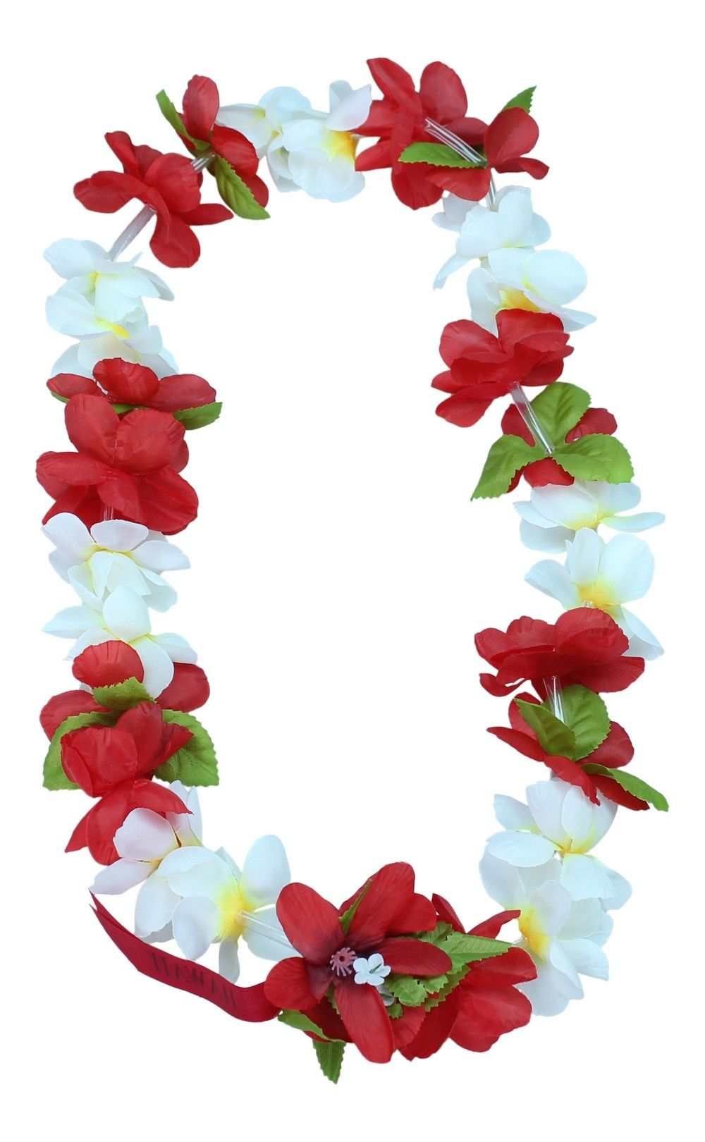 f79678236363 Hawaii Luau Party Princess Collection Artificial Silk Fabric Lei White and  Red
