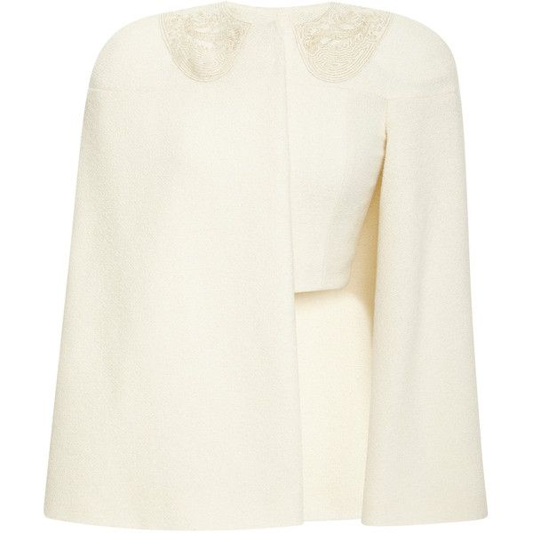 Thom Browne Cape Jacket With Cashmere Gold Thread ($2,400) ❤ liked on Polyvore featuring outerwear, jackets, gold jacket, gold cape, white cape, cashmere jacket and zip front jacket