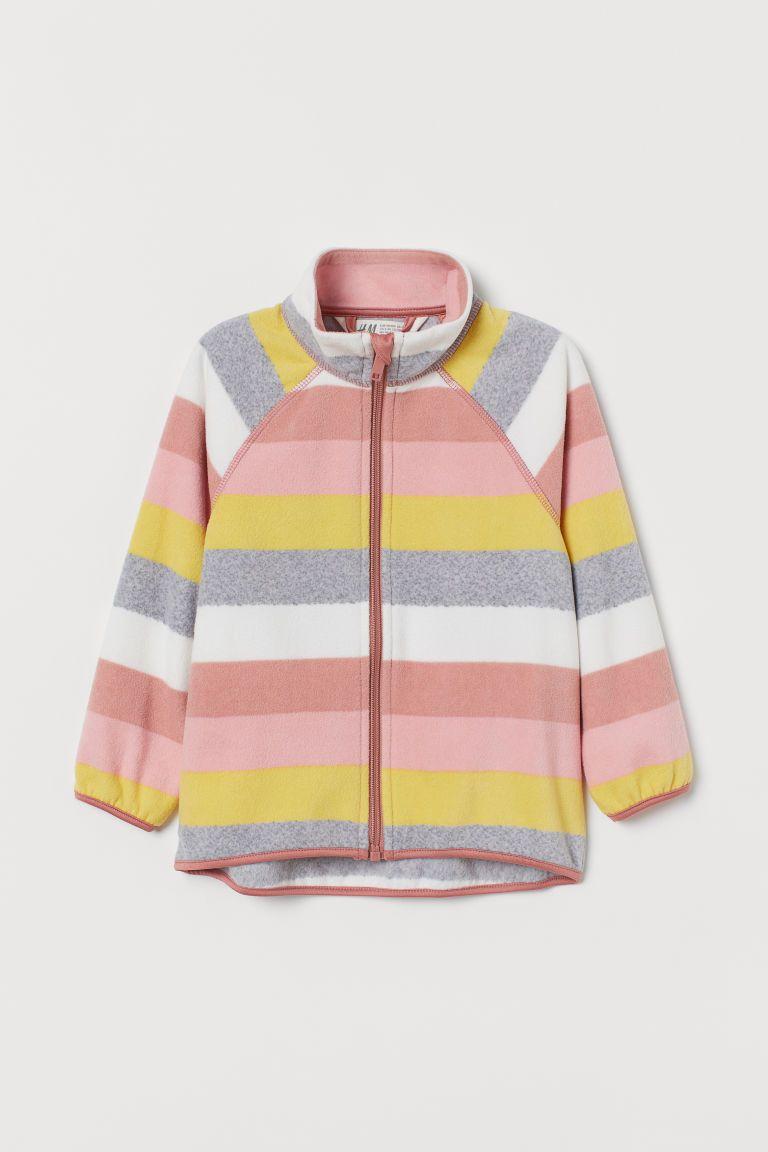 Fleece Jacket Pink Striped Kids H M Us In 2021 Fleece Jacket Jackets Pink Leopard Print