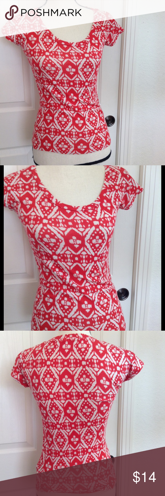 J. Crew Shirt Red & Cream Print XXS Top Women's -like new no flaws or issues j crew J. Crew Tops Tees - Short Sleeve