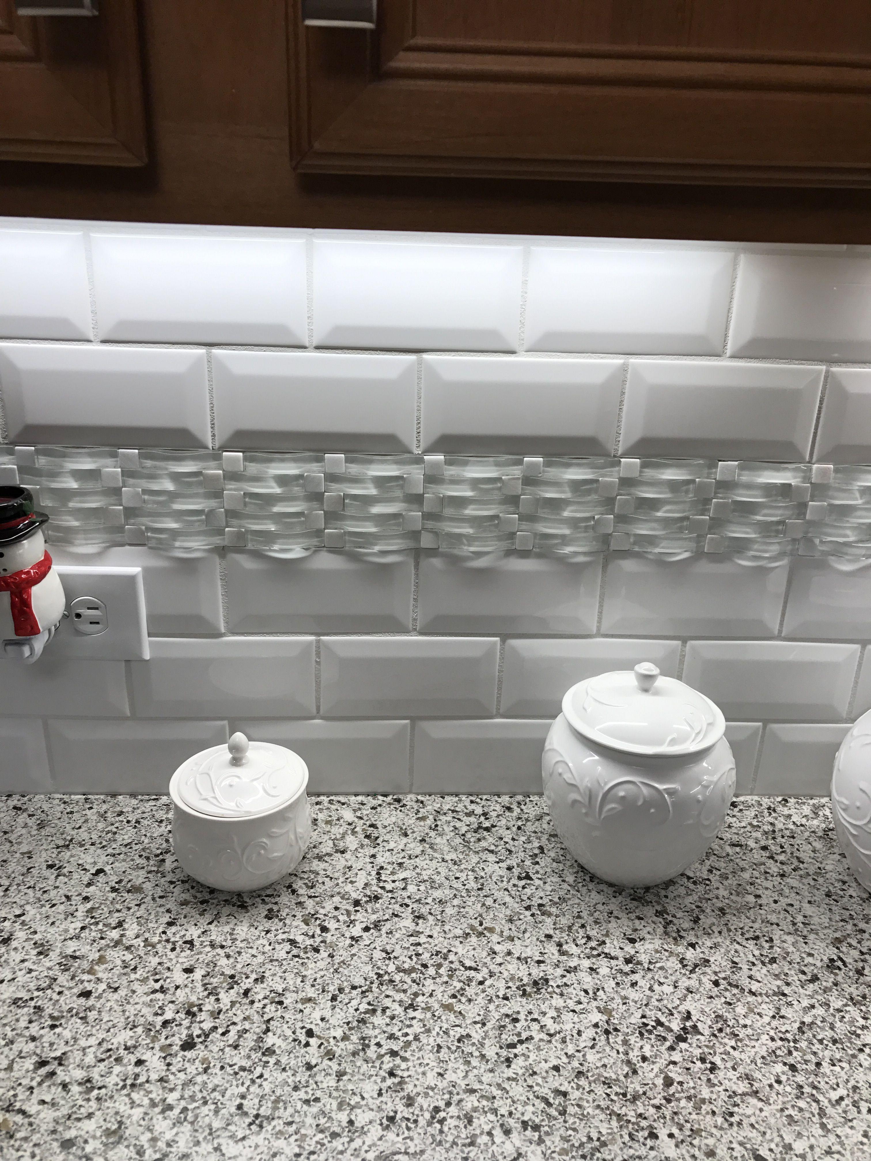 Kitchen Backsplash 3x6 White Subway Tile With Deco Accent Strip