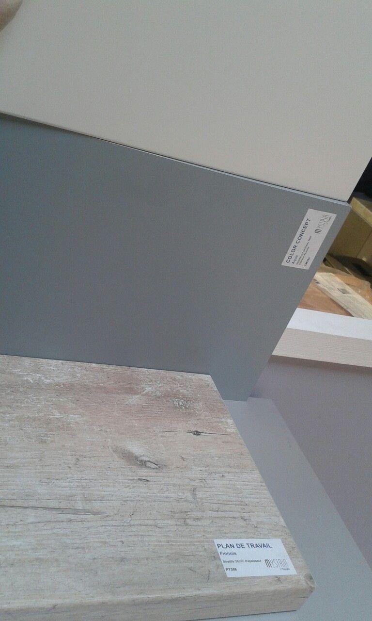 conforama : plan travail Bois finnois + credence bleu/gris +