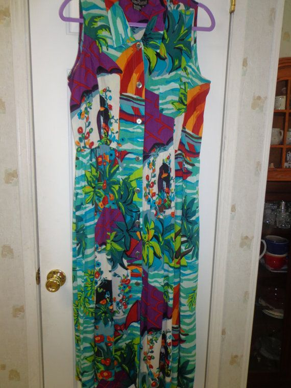 Vintage Carole Little Maxi Dress Bold and by SweetPeaVintageTwo, $28.00