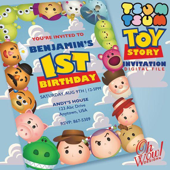 Tsum Tsum Toy Story Birthday Invitation Digital File Birthdays
