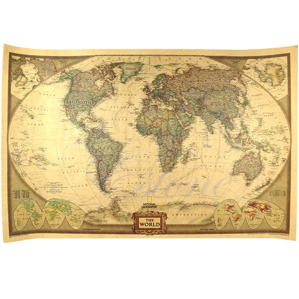 Large Paper World Map.Large Size Vintage Retro Paper World Map Poster Wall Chart Home Deco