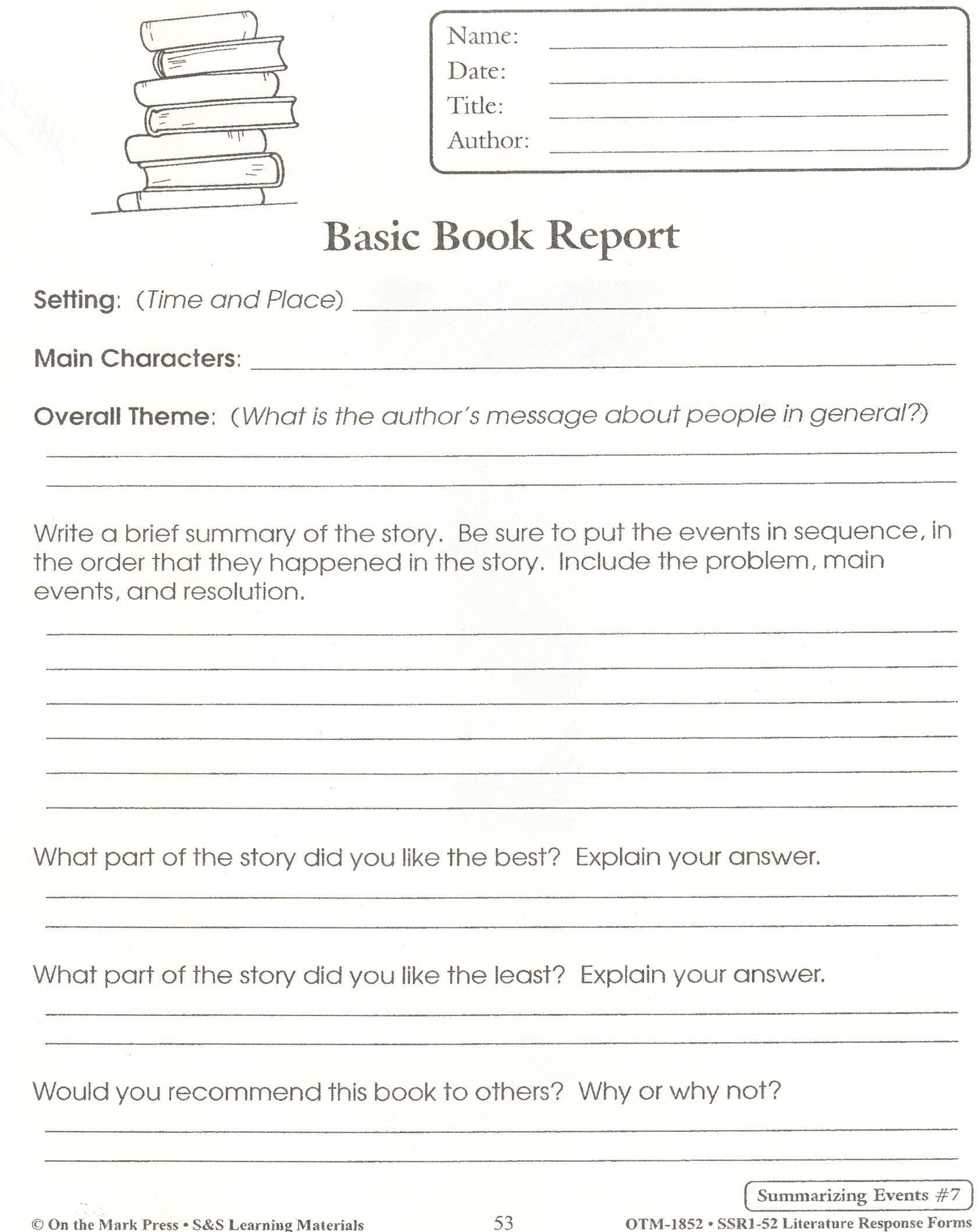 Summarizing Worksheet 4th Grade Summary Worksheet 4th