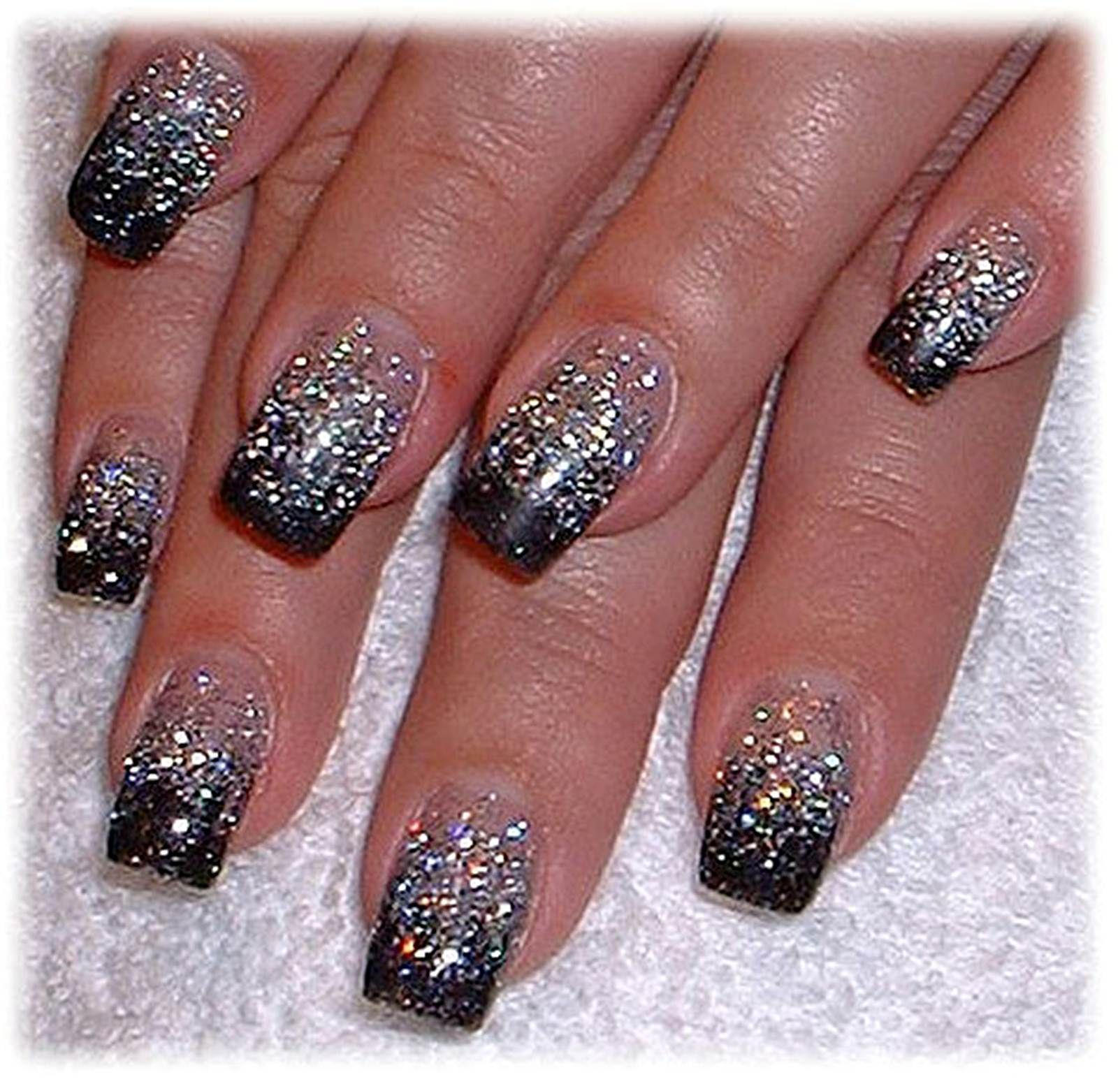 acrylic nail designs glitter tips | Nail\'D IT | Pinterest