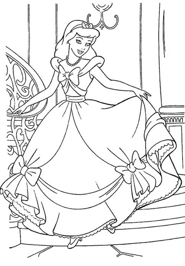 Cinderella Is Happy With Her Gown In Princesses Birthday Coloring Pages Bulk Color Disney Coloring Sheets Cinderella Coloring Pages Disney Coloring Pages