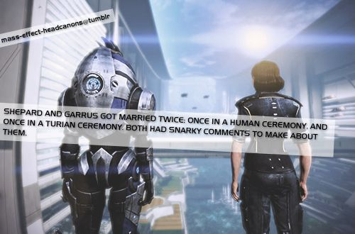 shepard and garrus got married twice once in a human
