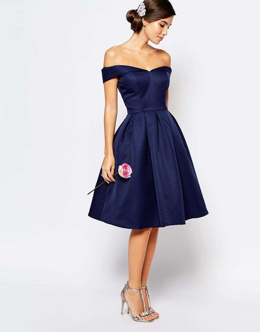 f2fed21406e Image 4 of Chi Chi London Midi Prom Dress with Full Skirt and Bardot Neck