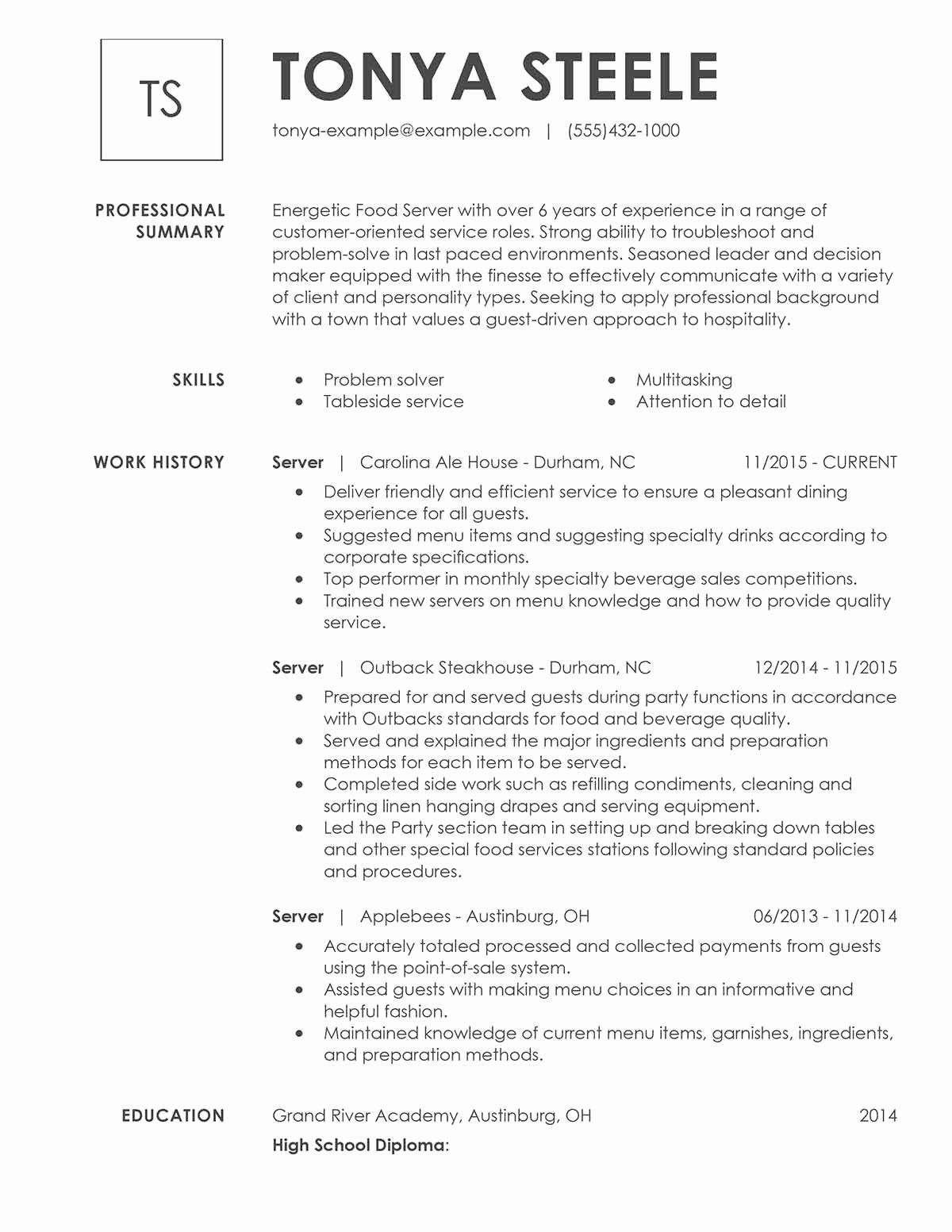 20 Food Service Worker Job Description Resume Good Resume