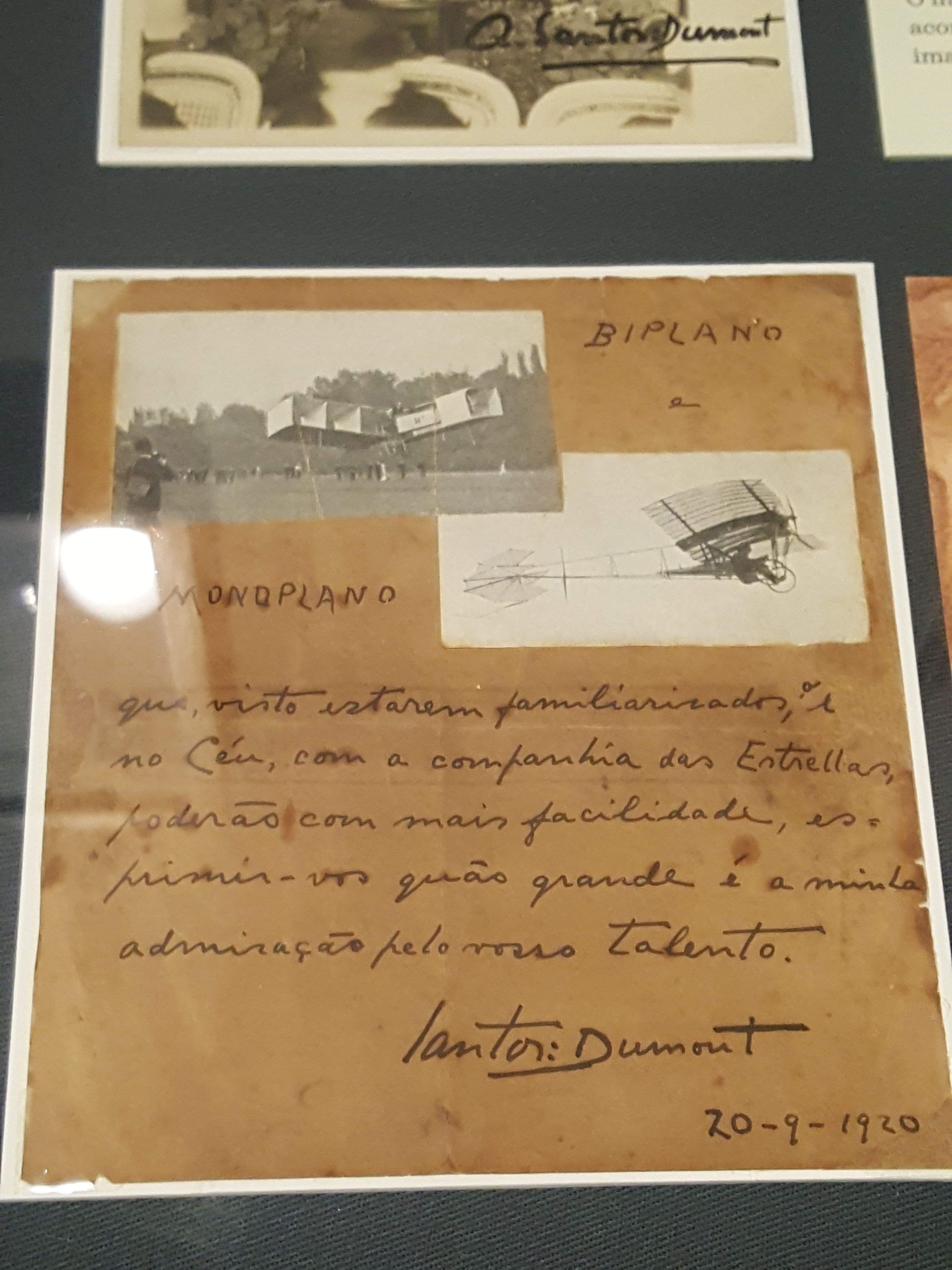 10 December 2016 (18:28) / A 1920 letter from Santos-Dumont, as seen on the SANTOS-DUMONT exhibition at Itaú Cultural, São Paulo City.