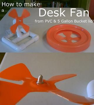 homemade fan the diy home depot dc powered desk stand made w pvc blade with a 5 gallon bucket lid moves kensgrove 54 in