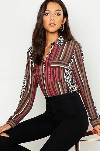 9e31ba5b Click here to find out about the Stripe Chain Print Satin Shirt from  Boohoo, part of our latest Tops collection ready to shop online today!