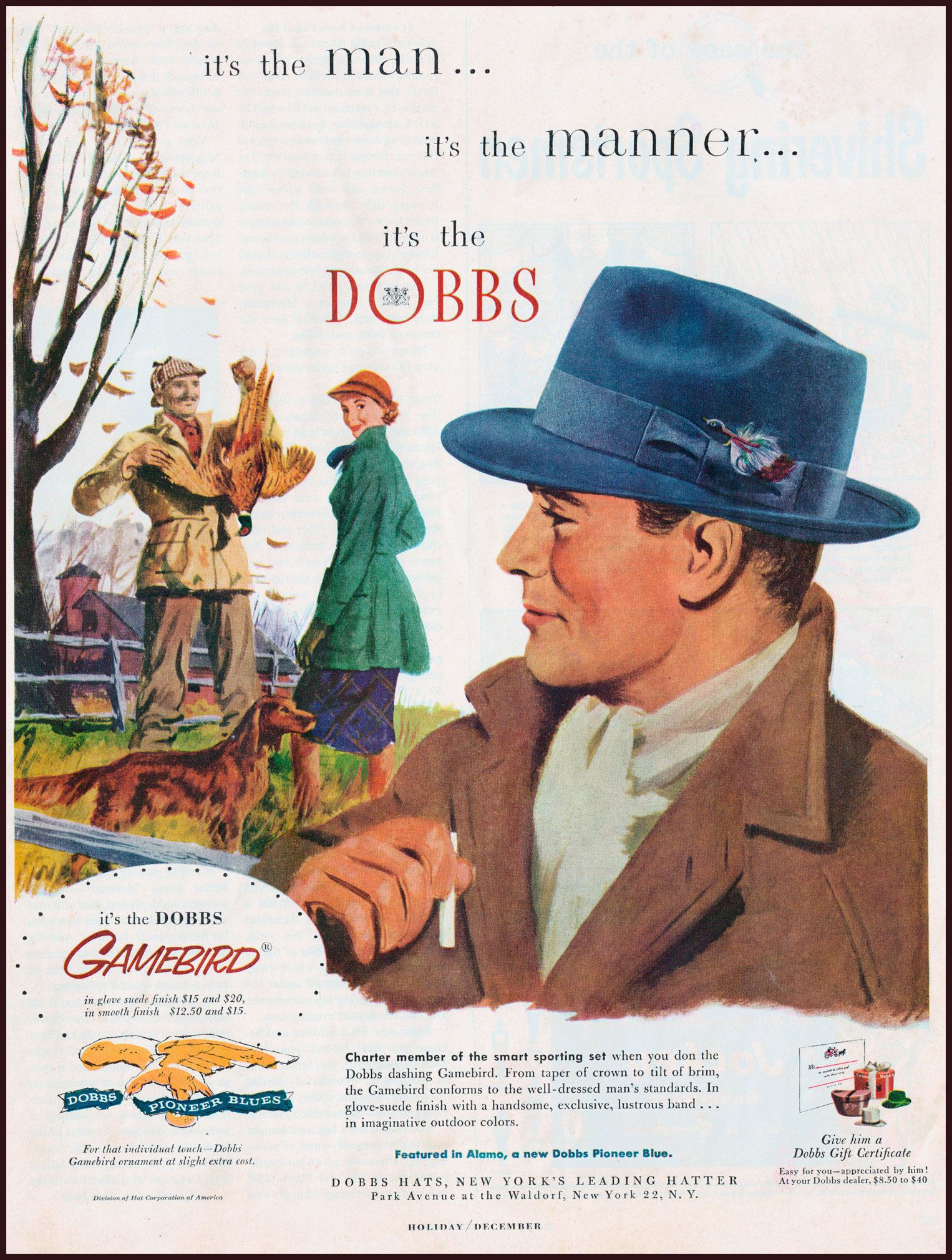 Vintage clothes fashion ads of the 1940s page 22 - 1951 Vintage Print Ad Dobbs Hats For Men Vintage Hat Ad