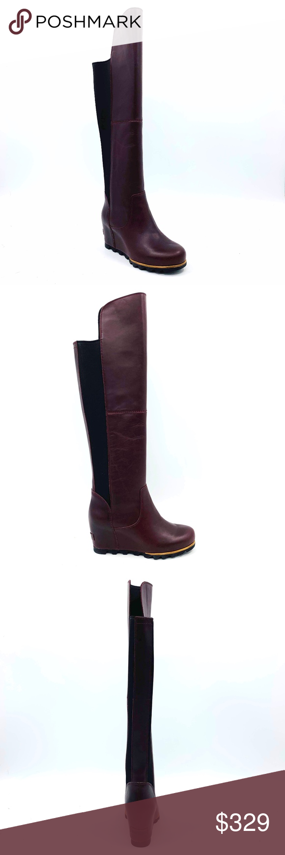 3ae8a48f1bb Sorel Fiona Over the Knee Red Leather Boots Sz 8.5 Sorel Fiona Over the  Knee Lux Rich Wine Red Leather Winter Boot Womens Size 8.5 A lux wedge with  a ...