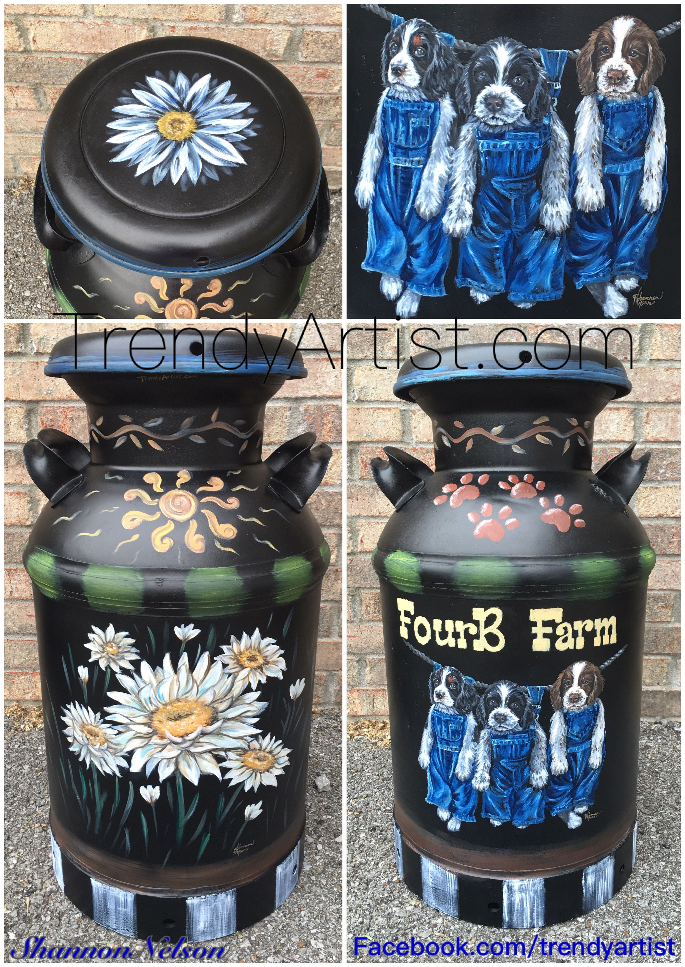 Oil Painted Milk Can Front And Back Views Painted Milk Cans Old Milk Cans Milk Cans