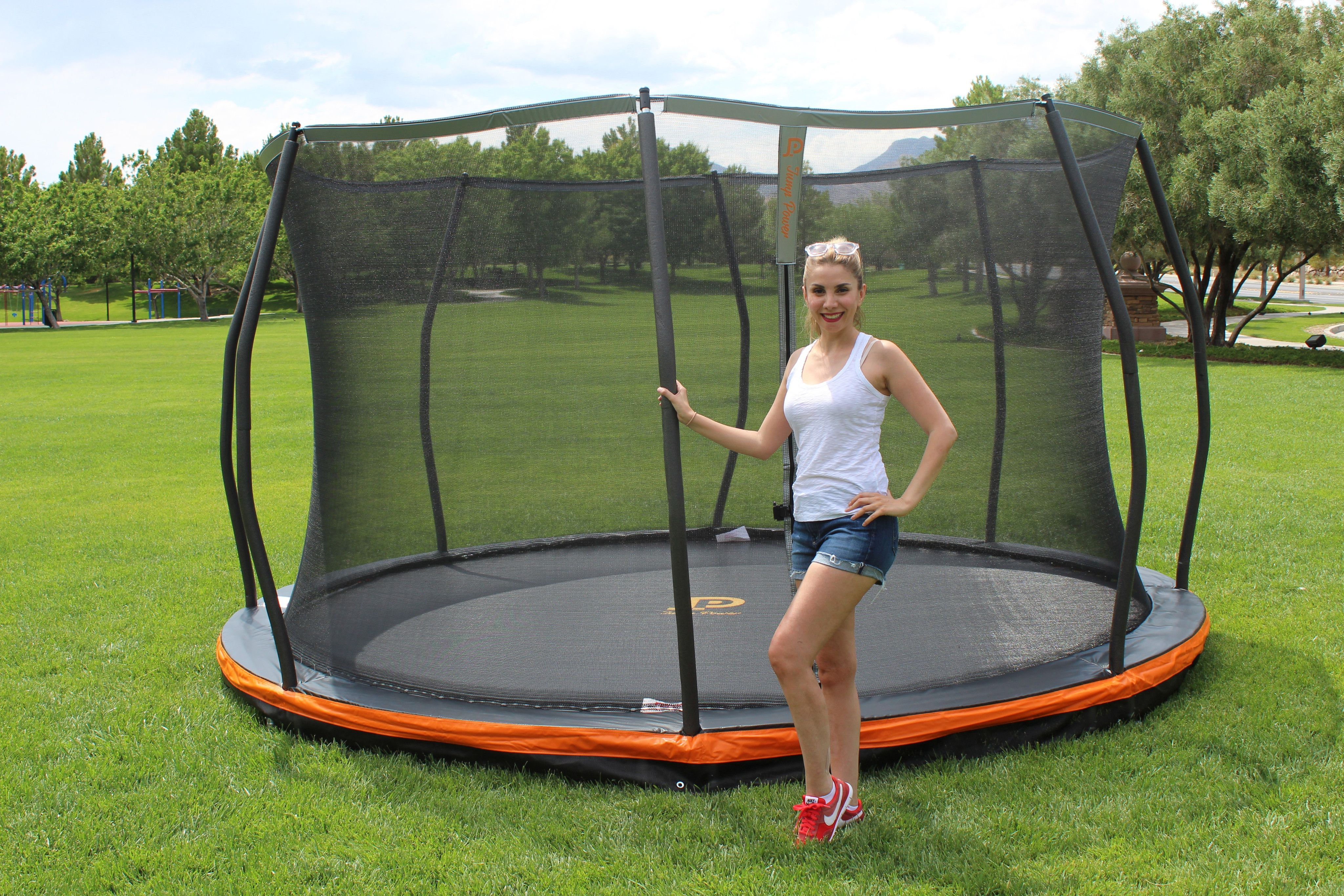 13ft inground trampoline safety net combo european
