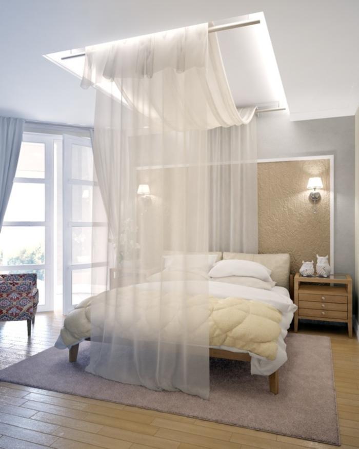 Einrichtungstipps Schlafzimmer Himmelbett Vorhang